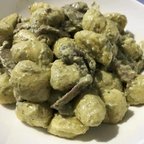 Gnocchi pancetta e funghi