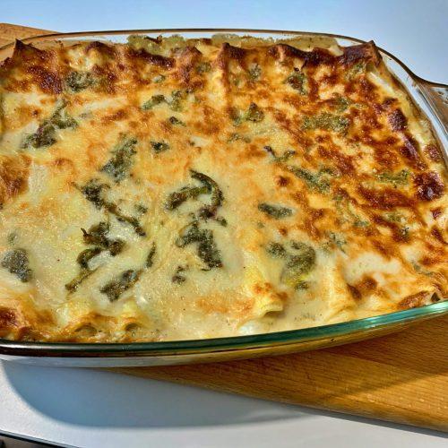 Lasagne pancetta carciofi formaggio